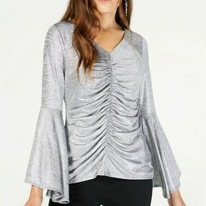 THALIA SODI Ruched Bell-Sleeve Shimmer Top